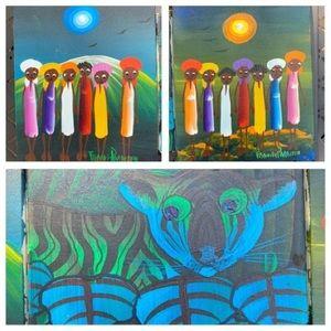 Three Haitian Folk Art Paintings